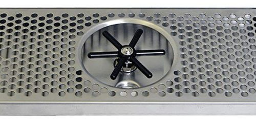 """617R-12 Stainless Steel Rinser Tray and Perforated Grid Includes 1/2"""" Barb Water Inlet and 2"""" x 1/2""""NPT Drain - 12""""L x 7""""W x 7/8""""D"""
