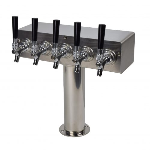 "635NRG-SS Five Faucet T Tower with 3"" Round Base - Stainless Steel Faucets and Shanks - Non NSF - Glycol Ready"