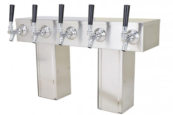 759G-5SS Five Faucet Pass Through Tower with Square Bases - Glycol Ready - NSF with S/S Faucets and Shanks