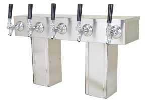 759NG-5SS Five Faucet Pass Through Tower with Square Bases - Glycol Ready - NON NSF with S/S Faucets and Shanks