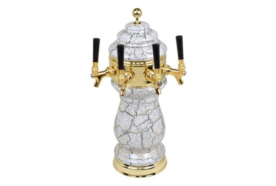 882B-4SSW Four Faucet Ceramic Wine Tower with PVD Brass Hardware - Available in 5 Colors - Shown in Beige Marble