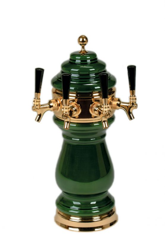 882B-4SSW-AG Four Faucet Ceramic Wine Tower with PVD Brass Hardware - Available in 5 Colors - Shown in Antique Green