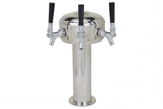 626CG-3SSfront Three Faucet Mini Mushroom Tower with 304 SS Faucets and Shanks - Glycol Ready
