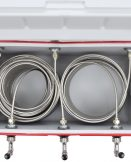 811T-100 Three Product Coil Box with 100' Stainless Steel Coils in a 48qt Red Cooler