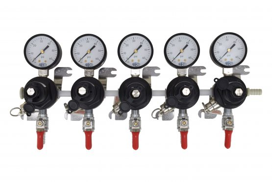 """2705 Five TecFlo Secondary Regulator With Your Choice of Push In Fittings and 3/8"""" OD Poly Unions"""